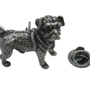 Dark Silver Toned Pug Dog Lapel Pin